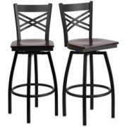 Set of 4 Metal Dining Swivel Bar Stools Cross-Back Design, Bar Height Chair Home Office Furniture - Walnut Wood Seat/2199