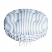 "Ticking Stripe Blue Bar Stool Cover with Adjustable Yoke - Size Standard for Round 12""-13""-14"" Stools - Latex Foam Cushion -"