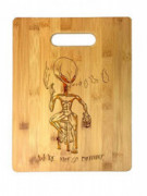 Were Not So Different Alien on Bar Stool Smoking & Drinking Laser Engraved Bamboo Cutting Board - Wedding, Housewarming, Ann