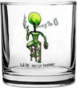 """Were Not So Different"" Alien on Bar stool Smoking & Drinking - 3D Color Printed Scotch Whiskey Glass 10.5 oz"
