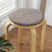 Chair Cushion Round Chair Pads, Linen Not-Slip Soft Multiple Pattern Seat Cushion with Ties for Kitchen Office Bar Stool l Di