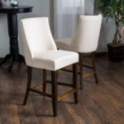 Rydel Beige Linen Fabric Counter Stools (Set of 2)