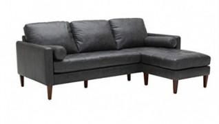 "Amazon Brand – Rivet Aiden Mid-Century Modern Reversible Sectional Sofa  86""  - Black Leather"