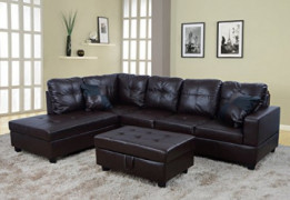 Beverly Fine Funiture Sectional Sofa Set, 93A Brown