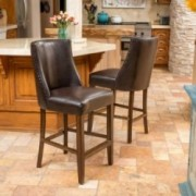 Rydel Nailhead Accent Brown Leather Counter Stools (Set of 2)