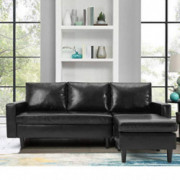 YODOLLA Convertible Sectional Sofa Couch, L-Shaped Sofa Couch with Modern Faux Leather, Black Sectional for Small Space