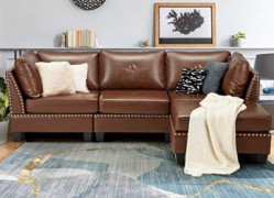 """Esright 88.6"""" Convertible Sectional Sofa Couch with Ottoman, Modern Tufted Faux Leather L-Shaped Couch with Reversible Chaise"""