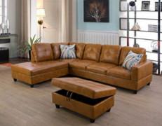 Ainehome Furniture Sectional Sofa Set, Living Room Sofa Set, Leather L Shape Sofa Left Hand Facing,Ginger
