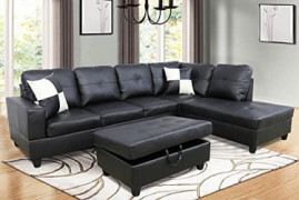 Sectional Sofa Set for Living Room,Leather Sectional Reversible Chaise Sofa 3-Set with Storage Ottoman  Black, Right Hand