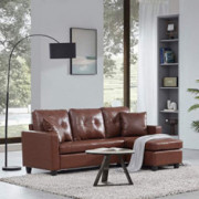 BELLEZE Altera Convertible Sectional Sofa, Modern Faux Leather L Shaped Couch 3-Seat with Reversible Chaise for Small Space,