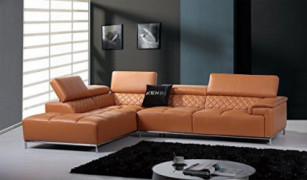 Limari Home The Horace Collection Modern Genuine Leather Upholstered 2 Piece Sectional Sofa for the Living Room With Left Fac