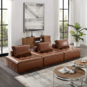 Volans Sectional Sofa, Mid Century Modern Leather Upholstered Square Modular Sectional Sofa Couch with Two Removable Non-Slip