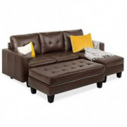 Tufted Faux Leather 3-Seat L-Shape Sectional Sofa Couch Set w/Chaise Lounge, Ottoman Coffee Table Bench, Brown