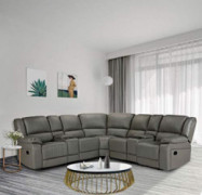 HOMMOO Recliner Sofa Set PU Leather Sofa and Couch, Corner Sectional Sofa with Cup Holder Manual Reclining Chair Power Motion