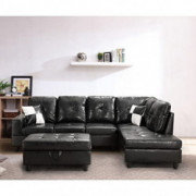 Longrune PU Sectional Sofa Couch for Living Room, with Storage Ottoman & 2 Pillows, Faux Leather, Right Chaise Black