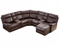 Multifunctional Ultra-Soft Leather Upholstery Reclining Sectional Couch, Living Room Corner Sofa Set with Chaise Lounge