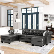 kupet Modern 4 Seat Living Room Set, Sectional Sofa with Storage Ottoman&Chaise Lounge, PU Leather L-Shape Couch with Tufted