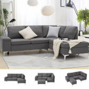 Esright Right Facing Sectional Sofa with Ottoman,Convertible Corner Couches with Armrest Storage, Sectional Couch for Living