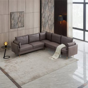 Pannow L-Shaped Sectional Sofa Symmetrical Modular Couch Technical Leather Corner Sectional Sofa Set Modern Living Room Sofa