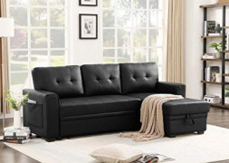 Infini Furnishings 84  Wide Faux Leather Reversible Sleeper Sectional Sofa Storage Chaise Pocket Sofabed, Black