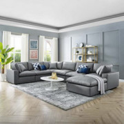 Modway Commix Down-Filled Overstuffed Vegan Leather 7-Piece Sectional Sofa in Gray