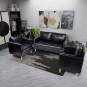 YDF Black Leather Sectional Sofa Set of 3 Loveseat and Single Leather Love Seats Stitching Tufted Cushion Suitable for Small