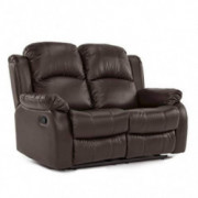 Casa Andrea Milano llc Butte Loveseat Double Bonded Leather 2 Seater Recliner Sofa, Brown
