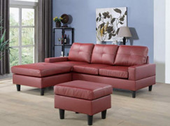 A Ainehome Convertible Sectional Sofa for Living Room Leather Sofa Couch with Reversible Chaise & Ottoman, 3 Piece Small Couc