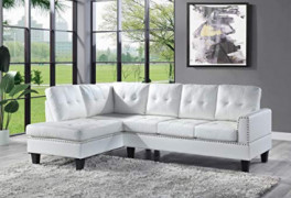 """kupet Faux Leather Sectional Couches Set, 99"""" 66"""" D x 36"""" H L-Shaped Modern Sofa for Living Room Furniture, White"""