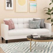 FURINNO Brive Contemporary Tufted 3 Seater Sofas, White Faux Leather
