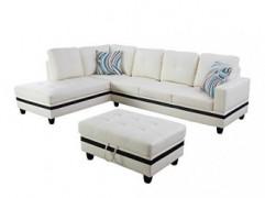 Beverly Fine Funiture Sectional Sofa Set, Cream White