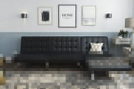 DHP Emily Sectional Futon Sofa with Convertible Chaise Lounger, Black Faux Leather