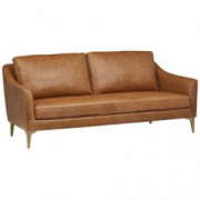 "Amazon Brand – Rivet Alonzo Contemporary Leather Sofa Couch, 80""W, Cognac"