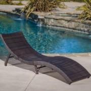 Maureen Outdoor Multibrown PE Wicker Folding Chaise Lounge Chair