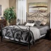 Haven King Size Scroll Design Iron Bed in Dark Bronze