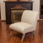 Jasmina Beige Fabric Slipper Chair