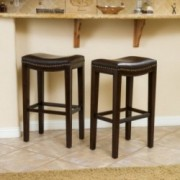 Jaeden Backless Brown Leather Bar Stools (Set of 2 )
