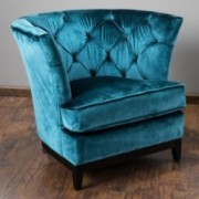 Anabella Teal Blue Velvet Tufted Sofa Chair