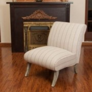 Jasmina Beige Striped Fabric Slipper Chair