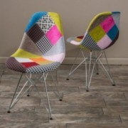 Cassius Multi-Color Patchwork Fabric Chairs (Set of 2)