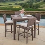 Ainsley Outdoor 5pc Brown Wicker Pub Dining Set