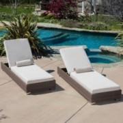 Zendaya Brown Wicker Sunbrella Chaise Lounge Chairs (Set of 2)