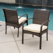 Carmela Outdoor Multibrown PE Wicker Dining Chairs (Set of 2)