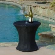 Lorenzo Outdoor Black Wicker Side Table
