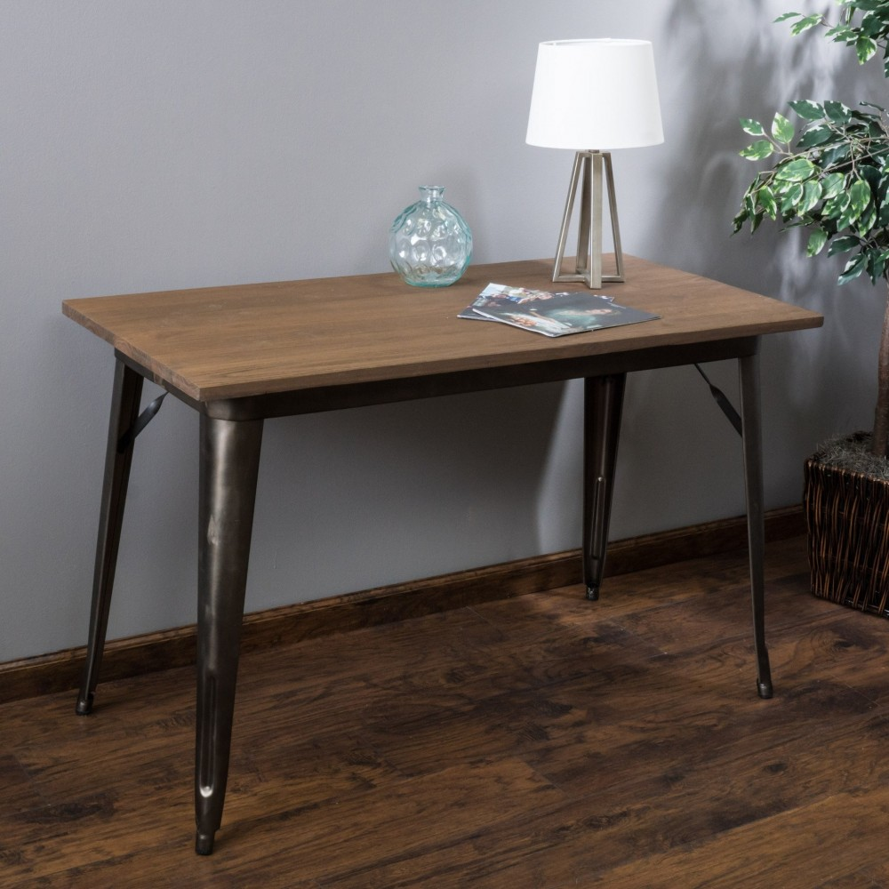 Titus Mocha Brown Folding Elm Wood Desk