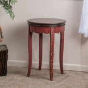 Clement Antique Red Brown Wood Accent Table