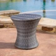 Lorenzo Outdoor Grey Wicker Side Table