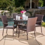 Ferndale Outdoor Multibrown Wicker  5pc Dining Set