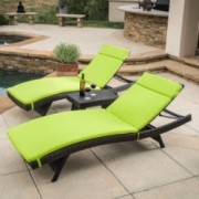 Lakeport Outdoor 3pc Adjustable Green Chaise Lounge Chair Set