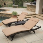 Lakeport Outdoor 3pc Adjustable Caramel Chaise Lounge Chair Set